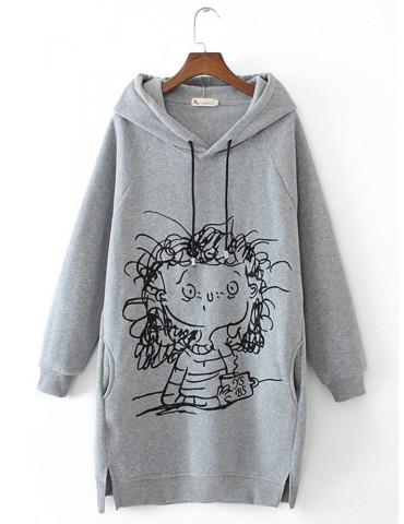 Cartoon Girl Print Long Sleeve Splited Hoodie For Women