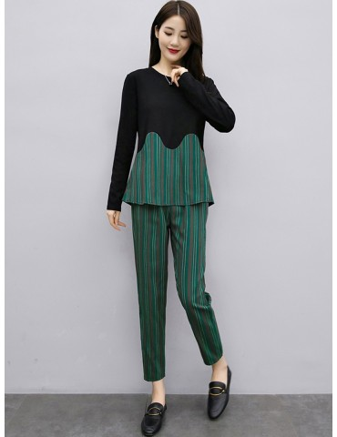 Women's Two-Piece Sets Long Sleeve O Neck Pullover Striped High Waist Wide Leg Pants