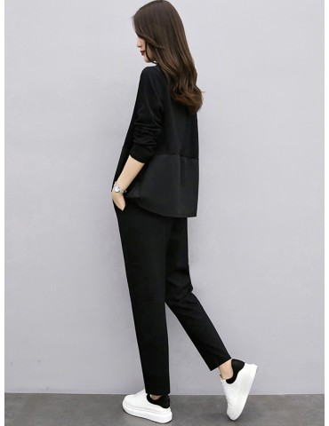 Women's Two-Piece Sets Loose Solid Color V Neck Shirt High Waist Fashion Long Pants