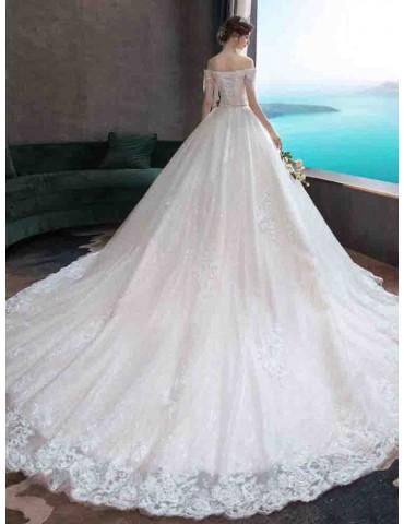 Women's Wedding Dress Slash Neck High Waist Solid Color Maxi Long Dress