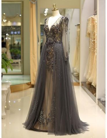 [Custom-Made]Women's Full Dress V Neck Long Sleeve Elegant Maxi Long Dress