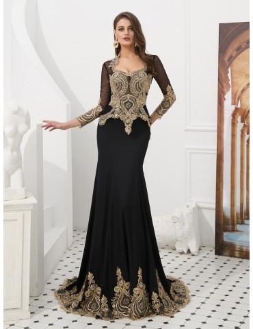 [Custom-Made]Women's Full Dress Fashion Appliques Sequined Long Sleeve V Neck Maxi Long Dress