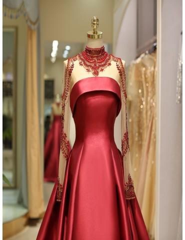 [Custom-Made]Women's Full Dress Solid Color Patchwork Elegant Maxi Long Dress