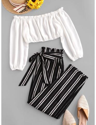 Contrast Off Shoulder Stripes Paperbag Pants Set - White S