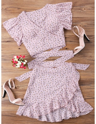 Wrap Top And Skirt Set - Pink M
